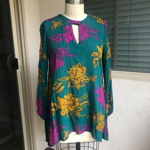 World Market | Green floral longsleeve tunic top